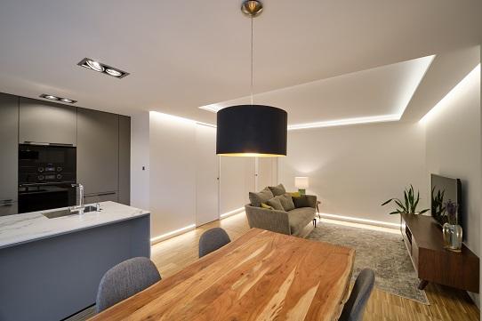 Cocina de vivienda en la primera promoción passivhaus de Coruña en Santiago